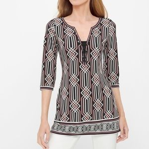 WHBM THREE-QUARTER SLEEVE PRINTED TUNIC